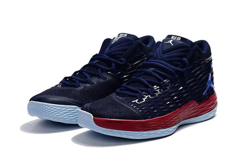 Where To Buy Cheap Nike Air Jordan Melo M13 Knicks Midnight Navy Gym Red-Blue