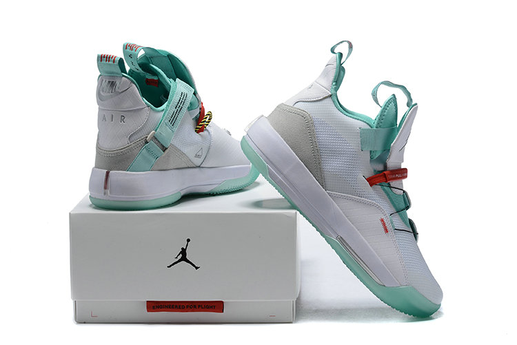 Womens 2019 Cheap Nike Air Jordan 33 White Jade Grey